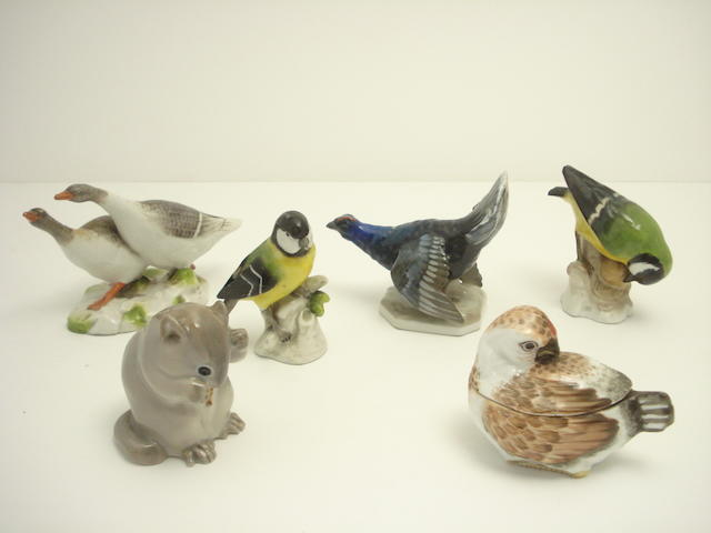 A collection of small Continental figures of birds Circa 1900 and later