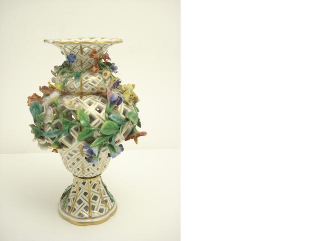 A Dresden flower encrusted pierced vase Circa 1900