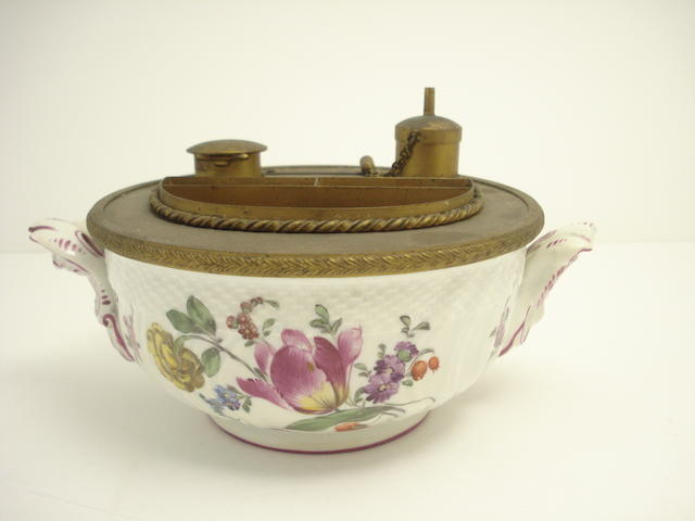 A German porcelain and ormolu mounted inkstand 19th century