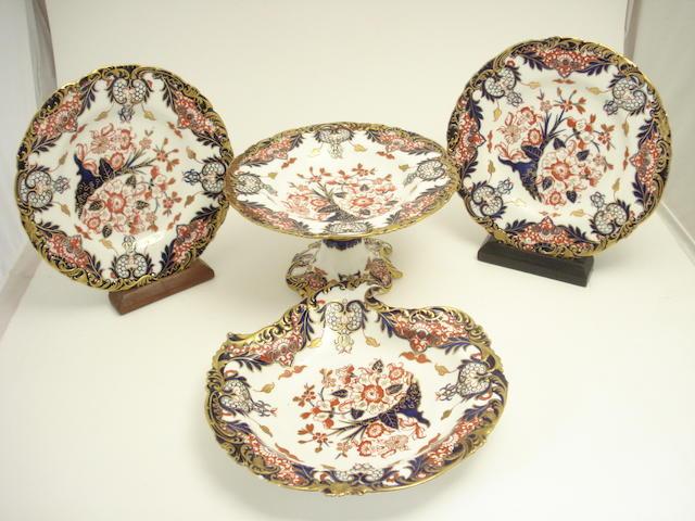 A Royal Crown Derby Imari part dessert service 19th century