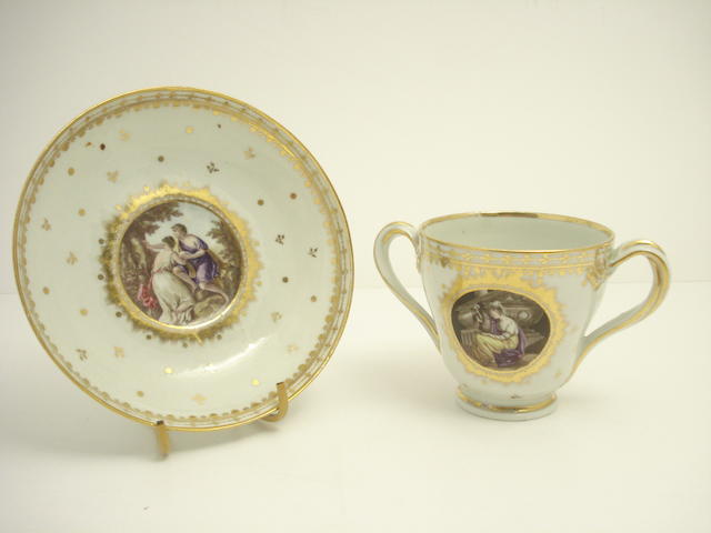 A continental chocolate cup and saucer 19th century