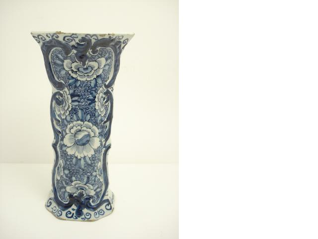 A Delft blue and white octagonal vase 18th century