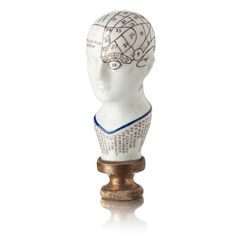 A porcelain phrenology seal handle Circa1900