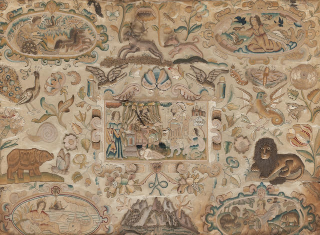 A 17th century embroidered silk picture