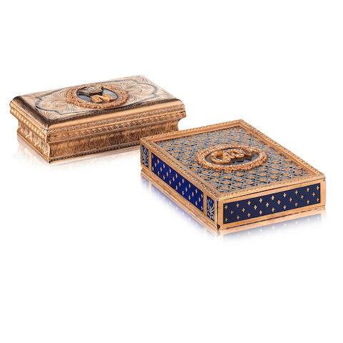Two gilt metal, blue enamel and paste set boxes