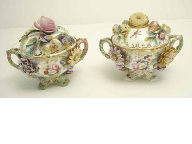A pair of English twin handled dishes with covers Early 19th century