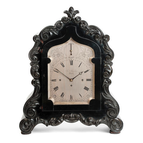 A large Victorian ebonised bracket clock By James Barber, York