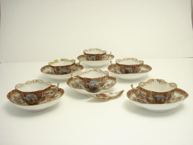 A set of six Dresden tea cups and saucers 19th century