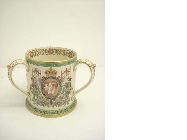 A large Copeland Spode Coronation Loving cup from 1937