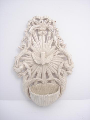 A pierced creamware holy water stoup  Circa 1800