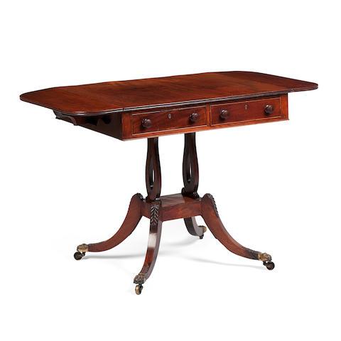 A pair of Regency  mahogany and sabicu  sofa tables