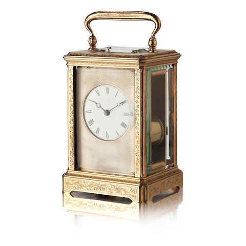 A late Victorian gilt-brass repeating carriage clock