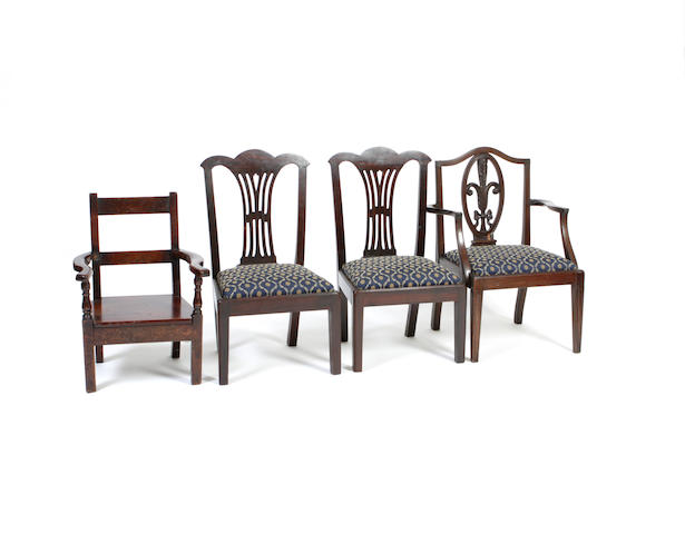 A pair of George III style child's chairs