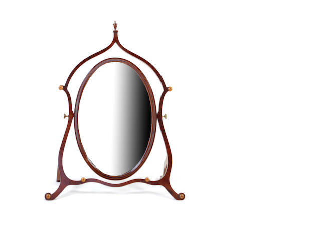 A George III style mahogany dressing table mirror