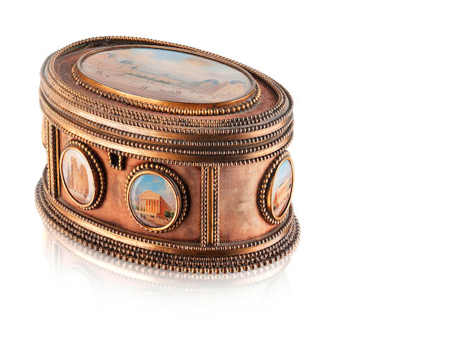 A 19th century oval gilt metal and faded velvet casket