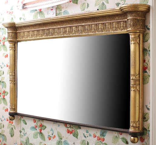A William IV giltwood and gesso overmantel mirror