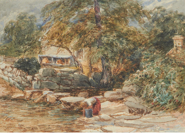 David Cox Jnr (British, 1809-1885) A washing woman by stepping stones, Bettws-y-Coed