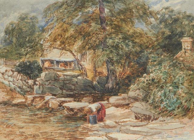 David Cox Jnr (British, 1809-1885) A washing woman by stepping stones, Bettws-y-Coed