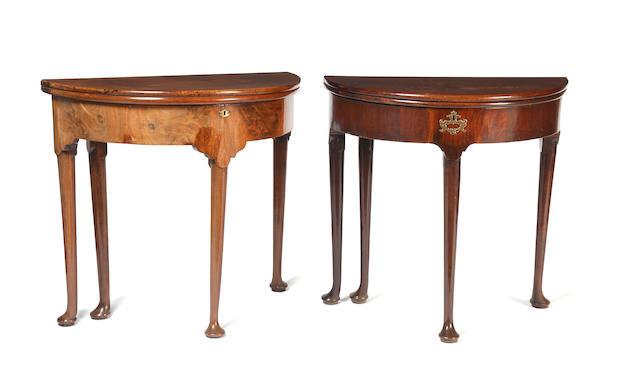 An early 18th century walnut tea table,