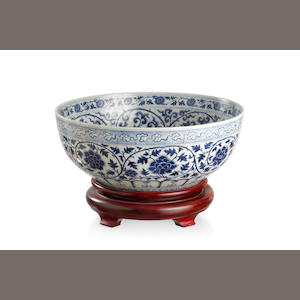 A Chinese Ming-style blue and white 'Three Friends' porcelain bowl