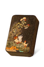 A Chinese lacquer box with mother-of-pearl and hardstone inlay Mid to late Qing dynasty
