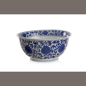 A large Chinese blue-and-white 'lotus' bowl [REDUCE EST.] Six-character Jiaqing mark to the base