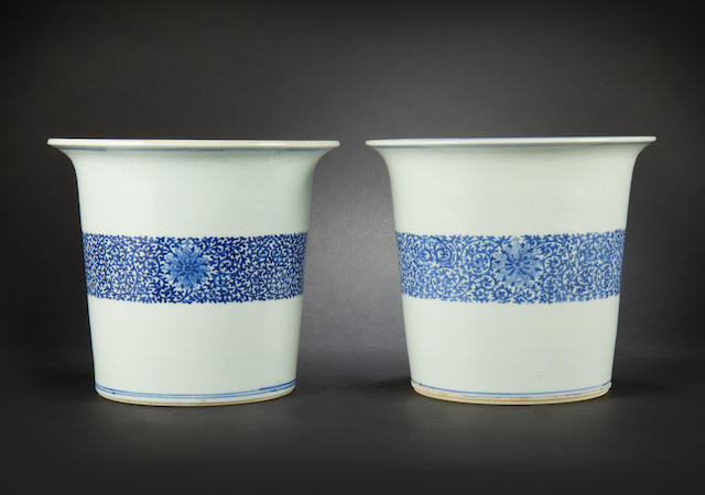 Two blue and white jardinièrs Qianlong four-character seal marks