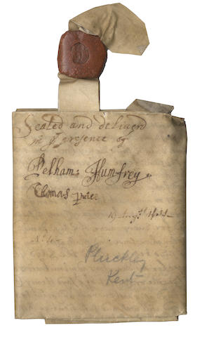 "HUMFREY (PELHAM) Indenture signed twice (""Pelham: Humfrey"") as witness to a deed signed by his future father-in-law, the singer and composer Captain Henry Cooke, 1661"