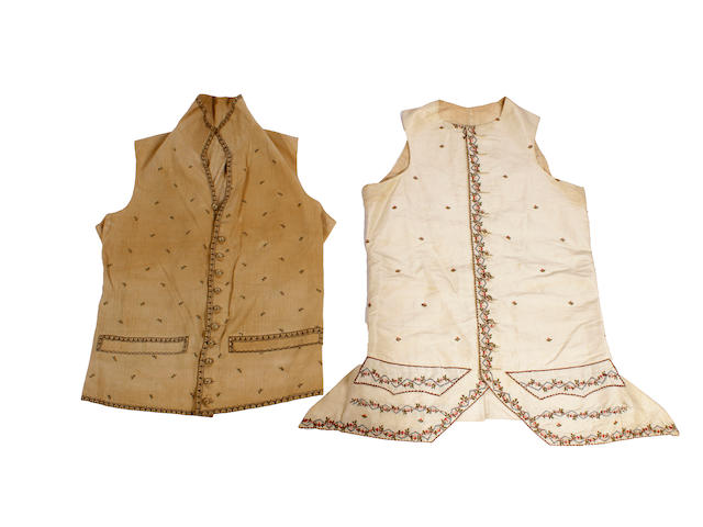 Two late 18th century gentlemen's waistcoats