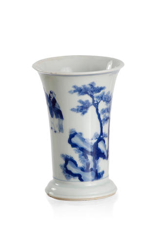 A small blue and white brush holder Pictorial mark of a leaf to the base, Kangxi