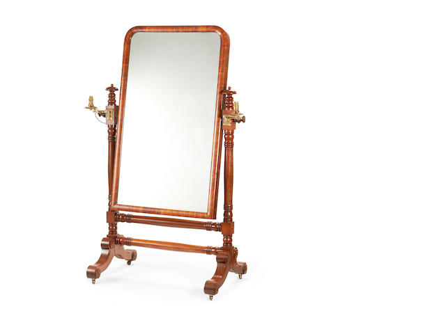 An early Victorian mahogany cheval mirror
