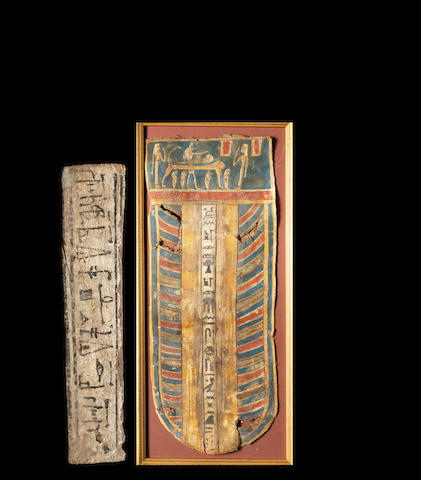 An Egyptian polychrome cartonnage section and an Egyptian gesso painted wood strip, 2