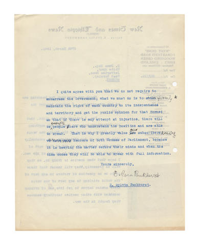 PANKHURST (SYLVIA) Series of twenty-four typed letters signed, written as editor of New Times and Albanian News, to Dervish Durma, an Albanian diplomat, broadcaster and community activist, 1941-1945