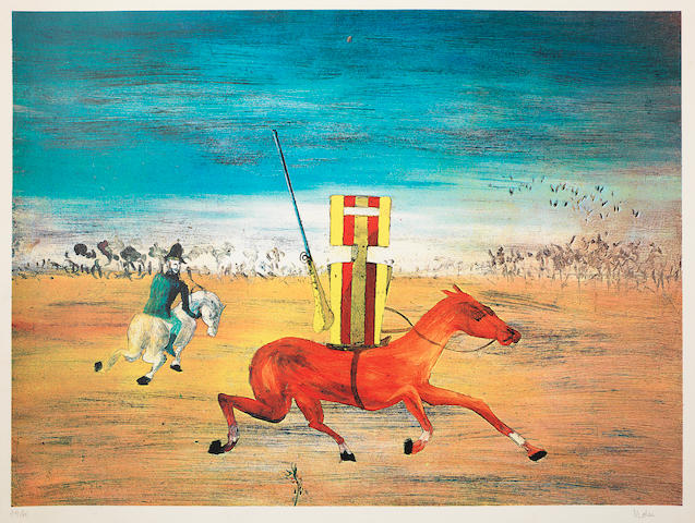Sidney Nolan (Australian, 1917-1992) The Pursuit (Ned Kelly Series) Colour screenprint, 1970-71, on wove, signed and numbered 44/60 in pencil, printed at Kelpra Studio, 468 x 637mm (18 3/8 x 25 1/8in)(I)