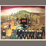 Sidney Nolan (Australian, 1917-1992) Glenrowan (Ned Kelly Series) Colour screenprint, 1970-71, on wove, signed and numbered 53/60 in pencil, printed at Kelpra Studio, 473 x 635mm (18 5/8 x 25in)(I)
