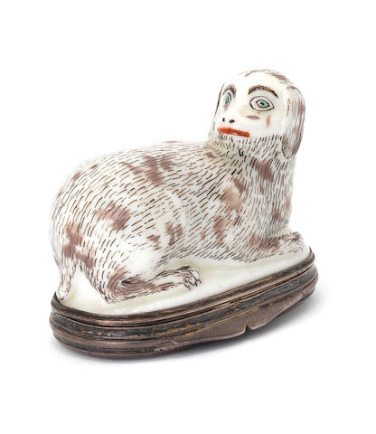 A St Cloud snuff box modelled as a fantastical animal, circa 1740