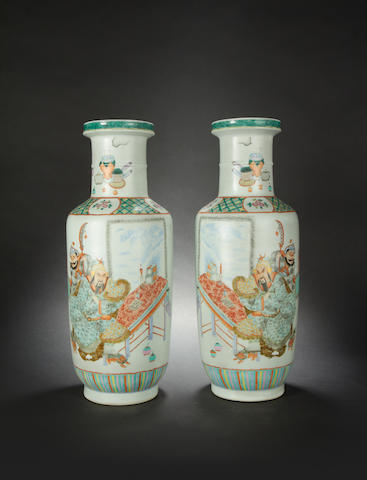 A pair of famille rose, rouleau vases