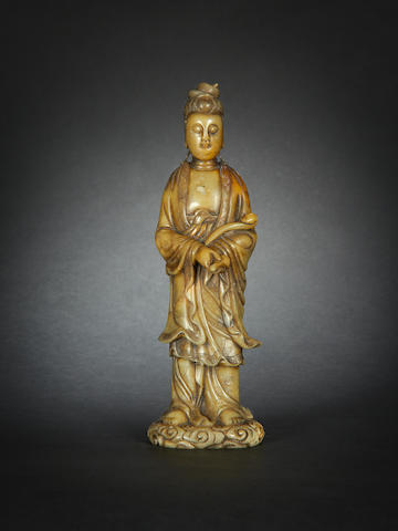 A soapstone figure of Guanyin