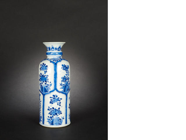 A blue and white, cylindrical vase Kangxi