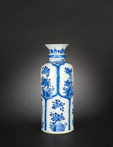 A blue and white, cylindrical vase Kangxi
