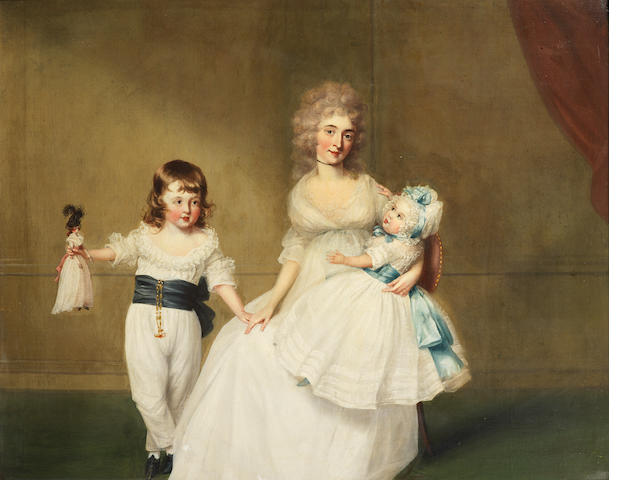 Richard Cosway R.A.  (Devon 1742-1821 London) Portrait of Mrs J.P. Fector, with her two children, Peter and Mary, in an interior