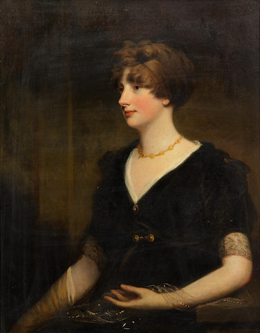 John Hoppner, R.A. (London 1758-1810) Portrait of Jane, daughter of Lt. Gen. Sir Thomas Spencer Wilson Bt., half length, in a black lace dress