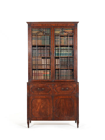 A late George III mahogany secretaire bookcase in the Hepplewhite taste