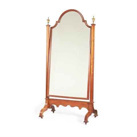A late Victorian mahogany cheval mirror