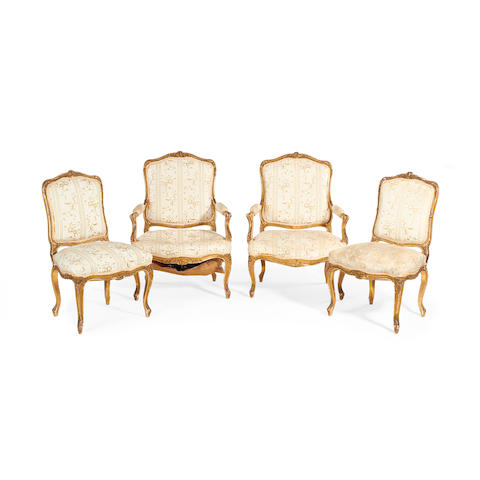 A four piece suite of French late 19th century giltwood salon furniture