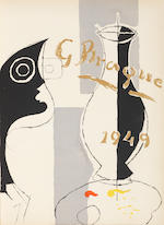 Georges Braque (French, 1882-1963) Une Aventure Méthodique  The complete set of thirteen lithographs printed in colours, and twenty-six lithographs in black, 1949, on Arches, in- and hors-texte, title page, text in French, table of contents, and justification,  with a dedication and ink drawing in blue on the flyleaf,  signed in pencil by the author Pierre Reverdy and the artist on the justification, copy 102 of 250, printed by Mourlot, Paris, published by Maeght, Paris, each the full sheet, bound    original tan paper wrapper and beige cloth-covered portfolio box with embossed lettering 450 x 335mm (17 3/4 x 13 1/4in)(Vol)