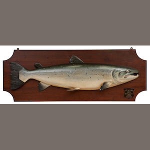 A carved and painted half-block salmon