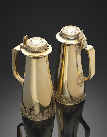 CHRISTOPHER NIGEL LAWRENCE: A rare pair of silver-gilt ewers London 1972  (2)
