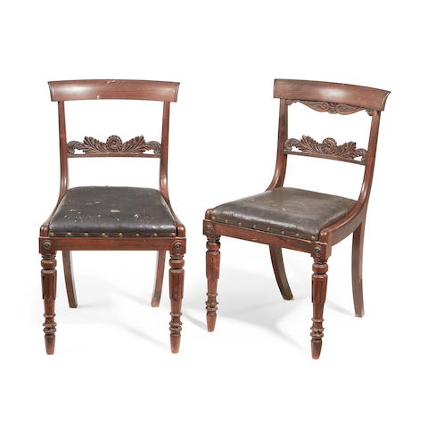 A set of eight George IV rosewood dining chairs in the manner of Gillows