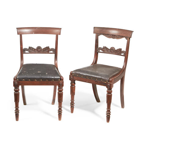 A set of eight late Regency rosewood dining chairs in the manner of Gillows